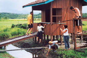Canadian and Indonesian youth built public washrooms on the island of Borneo - photo courtesy of Lars Jungclaus