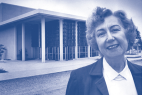 Dorothy Somerset, UBC Theatre Dept. Founder in front of the newly constructed Frederic Wood Theatre in 1958 - photo courtesy of UBC Theatre Dept.